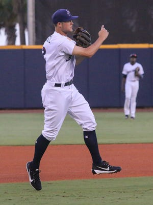 Pensacola third baseman Nick Senzel (13) went 4-for-4 against Biloxi on Friday night and came up one double shy of hitting for the cycle.