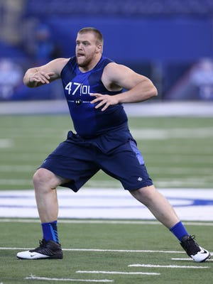 Former Iowa offensive lineman Brandon Scherff works out during the NFL Combine on Feb. 20. Monday's Pro Day at the University of Iowa was closed to reporters.