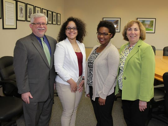 Two Middlesex County students were accepted into a leadership conference at the Rutgers University Eagleton Institute of Politics in June. The program, called NEW Leadership TM, allows college women the opportunity to develop their leadership skills, learn about civic engagement, and meet influential and inspirational women leaders. Melissa Nieves, second from left, of Edison, and Aliyah Knighton, second from right, of Carteret, attended the program, which ran from June 4 to 9. In addition, Nieves was awarded a scholarship from the Senator Wynona Lipman Chair in Women's Political Leadership. Named for the first African-American woman to serve in the New Jersey State Senate, these scholarships help deserving students be able to attend. Pictured with them are Mark McCormick, the college's vice president for academic and student affairs, and college President Joann La Perla-Morales.