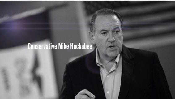 A screen grab from a television  ad supporting GOP presidential candidate Mike Huckabee. The ad was paid for by Pursuing America's Greatness, a Super Pac that supports Huckabee's campaign.