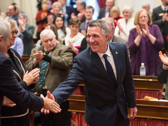 Gov. Phil Scott arrives in the House of Representatives