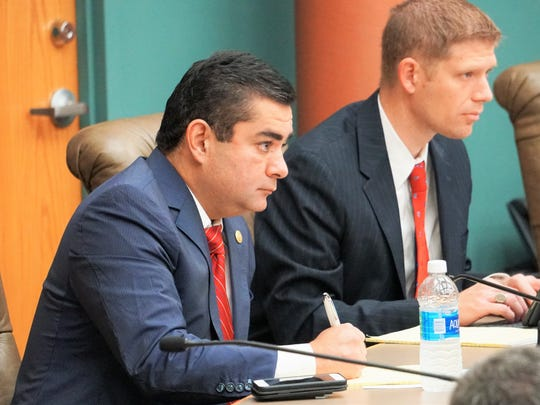 District 43 State Rep. J.M. Lozano listens to testimony during a Texas Land & Resource Management Committee hearing at Corpus Christi City Hall on Wednesday, Dec. 20.