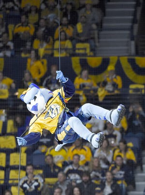 "Nashville Predators mascot ""Gnash,"" shown riling up fans during the Stanley Cup playoffs last season, will be at the Ice Flyers game Friday night at the Bay Center as part of a Predators theme night and prize giveaways."