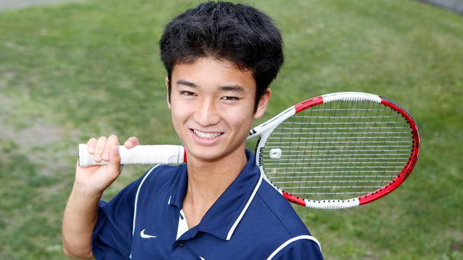 """Columbia-bound Taiyo Hamanaka of Eastchester was denied in the state finals his junior and senior years, though he never lost a set this season. He was well ahead in the state championship match, serving for match point, when a full-body cramp that """"feels like you're getting stabbed"""" forced him to retire."""