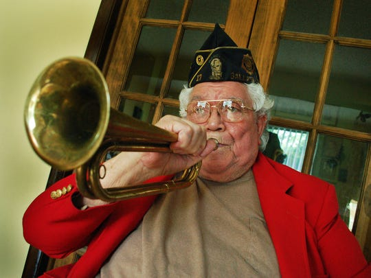 """George Offitt is remembered for playing """"Taps"""" at military funerals as a farewell salute for the men and women who made the ultimate sacrifice. Offitt, 91, died March 8, 2016."""