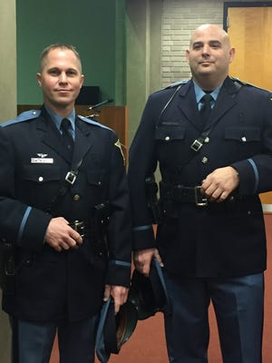 Vineland Police Officers Terry Hall (left) and Ron DeMarchi were promoted to sergeant rank during City Hall ceremony Feb. 28, 2018.