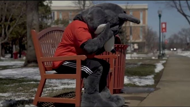 Charlie Coyote moped around campus after finding out President Jim Abbott was retiring.