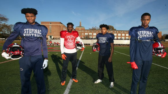 From left, Stepinac wide receivers Alex Thomas, Shawn