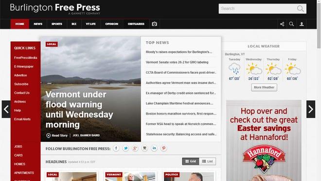 Homepage of new BurlingtonFreePress.com website.
