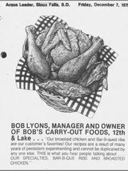 A quote from Bob Lyons, former owner of Bob's, in the