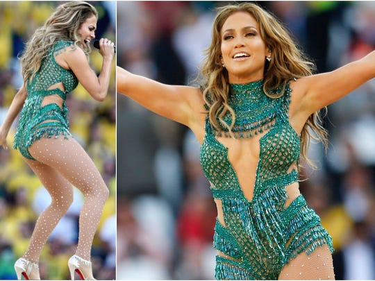 Jennifer Lopez performs during the 2014 World Cup opening ceremony ahead of the group A soccer match between Brazil and Croatia, the opening game of the tournament, in the Itaquerao Stadium in Sao Paulo, Brazil, Thursday, June 12, 2014.