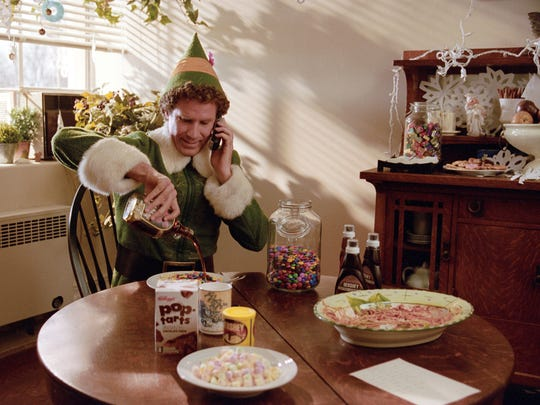 In the 2003 holiday comedy Elf, Buddy the Elf (played by Will Farrell) prepares a leftover spaghetti breakfast with maple syrup, sprinkles, mini marshmallows, M&M's, chocolate syrup and chocolate fudge Pop-Tarts.