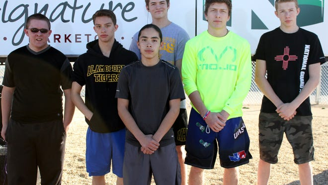Five of the six Alamogordo High School wrestlers pictured will attend the state tournament this weekend in Rio Rancho. Newest team member, Austin Miller, is pictured on the far left.