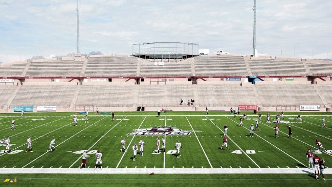 The skybox at Aggie Memorial Stadium is still under construction in September. NMSU will hold a ribbon cutting for the skybox, dubbed Club 27.