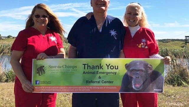 Dr. Ron Lyman and staff from Animal Emergency & Referral Center deliver holiday donations to Save the Chimps.