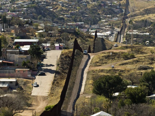 The border fence that separates Nogales, Sonora, Mexico (left), from Nogales, Arizona, in the United Sates (right), as seen on Feb. 24, 2017.