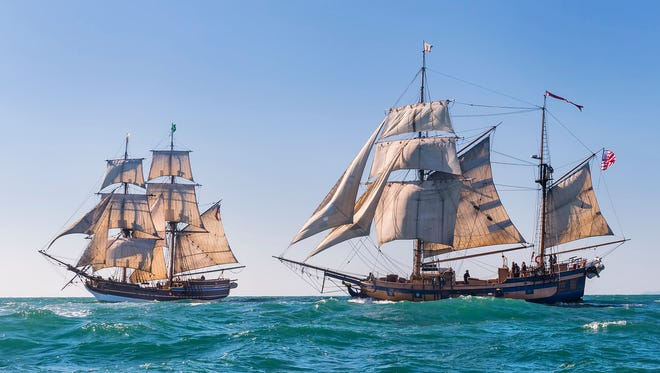Lady Washington, the official tall ship of the state of Washington, and her companion vessel, Hawaiian Chieftain.