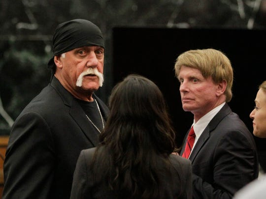 Hulk Hogan, whose given name is Terry Bollea, left,