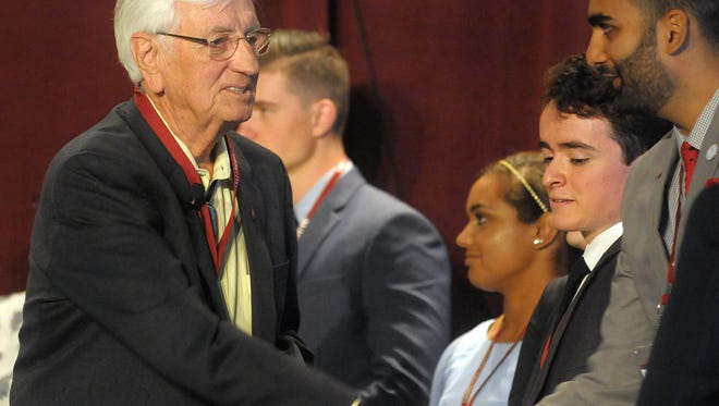 New Mexico State University Chancellor Garrey Carruthers greets Harris Ahmed, a student panelist at the 2017 Domenici Public Policy Conference and Burrell College of Osteopathic Medicine student. Applications are now open until March 30 for the 2018 student panelists for the Domenici Public Policy Conference.