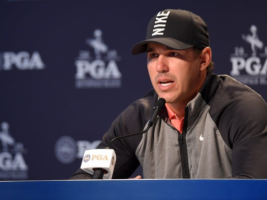 May 14, 2019; Farmingdale, NY, USA; Brooks Koepka addresses the media during a press conference before the PGA Championship golf tournament at Bethpage State Park - Black Course. Mandatory Credit: John David Mercer-USA TODAY Sports