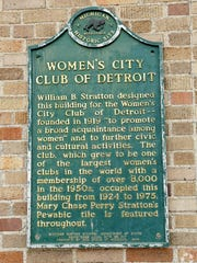 This historical plaque hangs on the Women's City Club building, at the corner of Elizabeth and Park. The downtown Detroit property has been bought for $5.85 million by an entity connected to the owners of the Little Caesars pizza and Detroit Red Wings.
