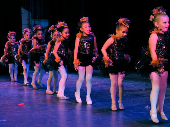 The Rockin' Robins, ages 5-7, perform to a Michael Jackson-version of the song during the Dance, Ltd.-School of Dance spring show Friday at HSU.