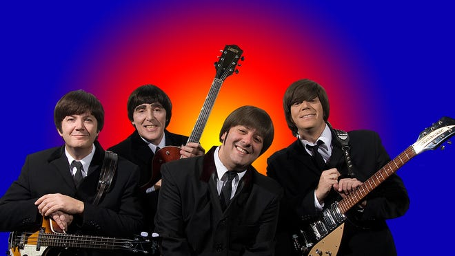 """Dave Pal, at right, has been performing as John Lennon with """"Beatlemania Again"""" for the past 10 years."""