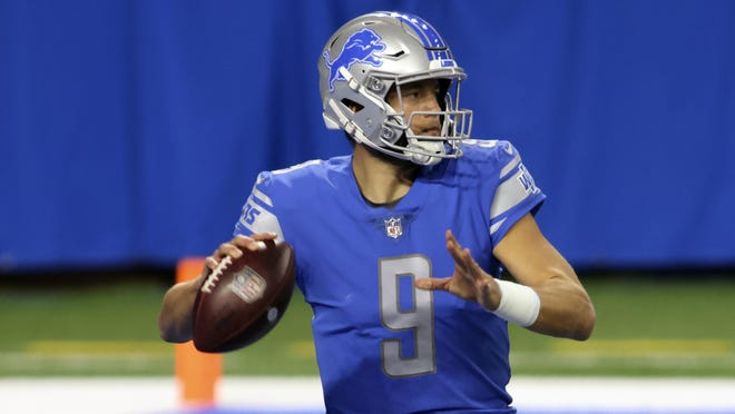 Detroit Lions quarterback Matthew Stafford throws during the first half of an NFL football game against the Indianapolis Colts, Sunday, Nov. 1, 2020, in Detroit.
