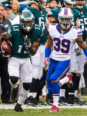 Eagles wide receiver Josh Huff, shown last season against Buffalo, has just 35 receptions for 410 yards in two NFL seasons.