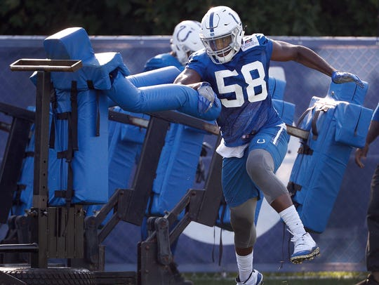 Indianapolis Colts linebacker Tarell Basham (58) works