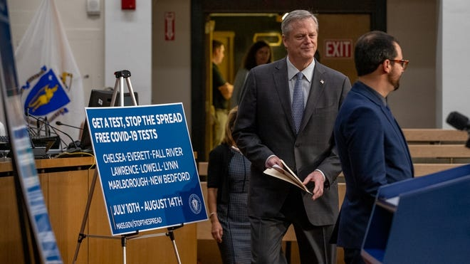 Gov. Charlie Baker held a State House news conference Wednesday to announce a new COVID-19 testing initiative dubbed Stop The Spread.