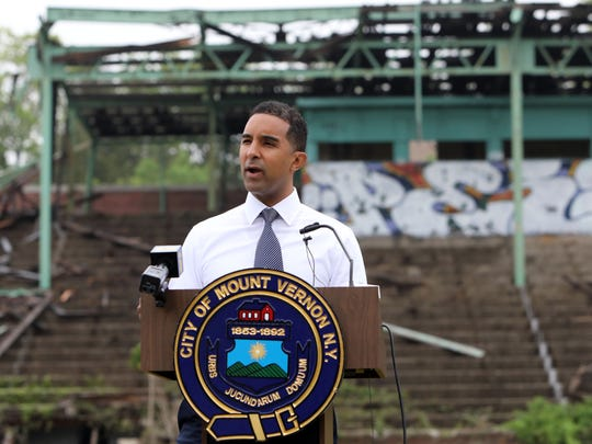 Mayor Richard Thomas announces the start of the demolition of the grandstand at Memorial Field May 14, 2018 in Mount Vernon.
