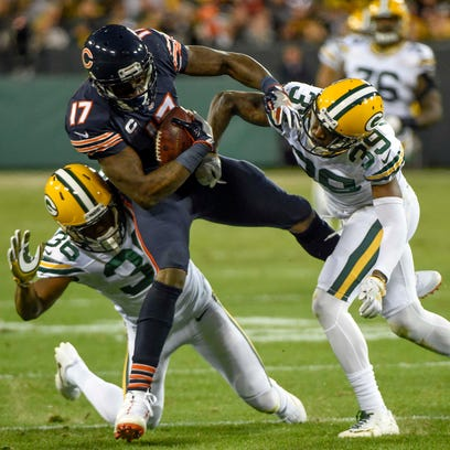 Chicago Bears wide receiver Alshon Jeffery is tackled