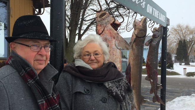 Alden and Judy Pedersen stopped at Wendt's on the Lake in Van Dyne on Sunday for a Valentine's Day lunch, and to see speared prehistoric sturgeon.