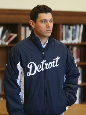 Detroit Tigers' Ian Kinsler listens to questions during the walking tour of the main branch of the Detroit Public Library on Thursday, January 21, 2016 in Detroit.