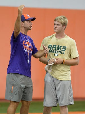 Quarterback recruit Chase Brice attended Clemson coach Dabo Swinney's football camp on June 13, 2015.