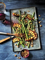 Grilled Asparagus and Peaches with Caramelized Shallots and Hazelnuts