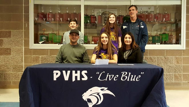 Piedra Vista's Bebe Jaquez signed a letter of intent to play volleyball for Kansas Wesleyan University on Thursday at the Jerry A. Conner Fieldhouse.