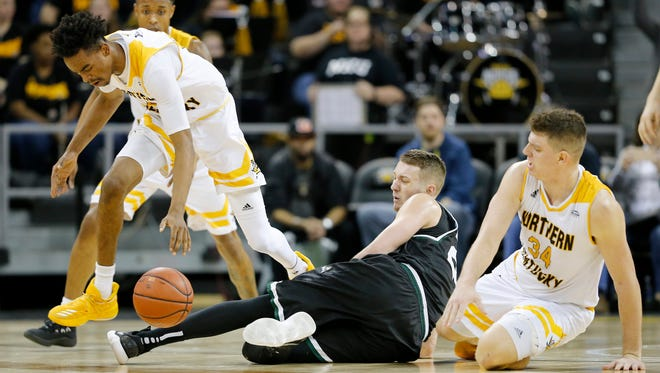 Northern Kentucky Norse forward Jalen Tate (5) collects a loose ball in the second half of the NCAA basketball game between the Northern Kentucky Norse and the Wright State Raiders at BB&T Arena in Highland Heights, Ky., on Thursday, Jan. 11, 2018.