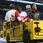 San Francisco 49ers running back Reggie Bush is carted off the field after being injured on a punt return during the first quarter Sunday, Nov. 1, 2015, at Edward Jones Dome in St. Louis.