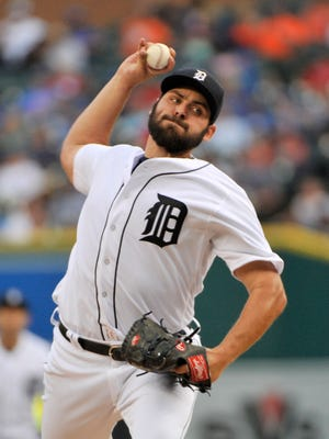 Tigers pitcher Michael Fulmer works in the second inning against the Toronto Blue Jays at Comerica Park Monday.