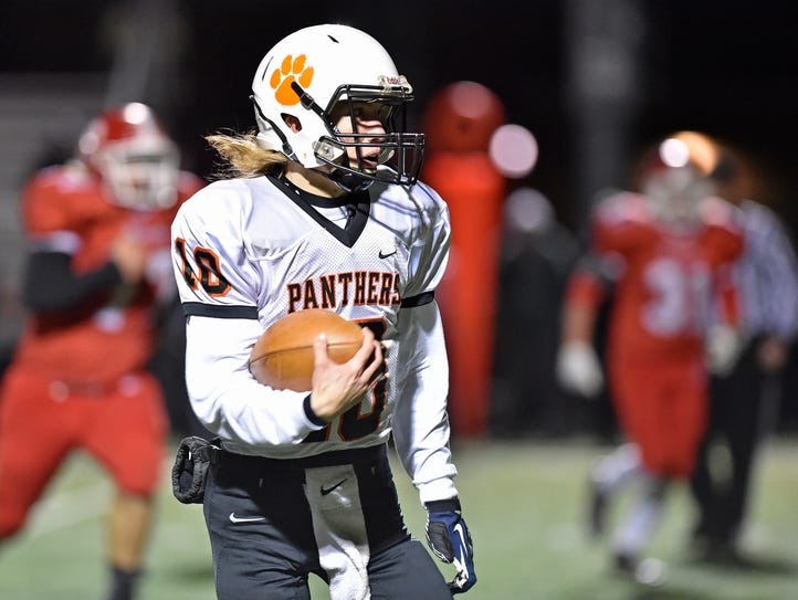East Pennsboro quarterback Payton Morris keeps the