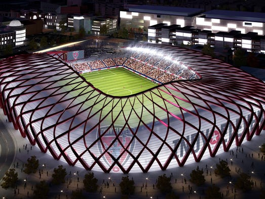 Renderings of a new Downtown stadium for Indy Eleven