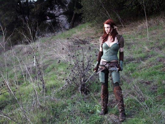 Felicia Day as Tallis, an Elven assassin, in the Web