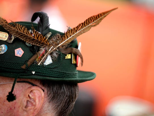 German flair adorns the hat of a member of the Hafenkapelle