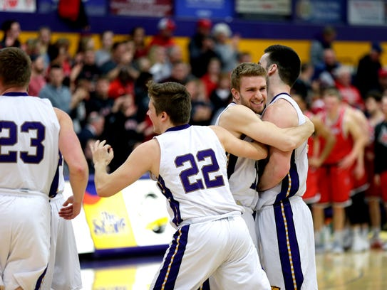 UW-Stevens Point players hope to celebrate a berth in the Sweet 16 of the NCAA Division III men's basketball tournament with a pair of wins this weekend in Collegeville, Minn.