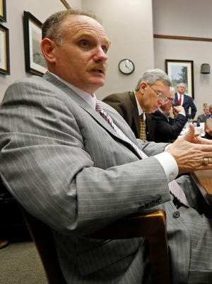 Rep. Mark Baker, R-Brandon, is shown in the foreground in this photo taken on January 25.