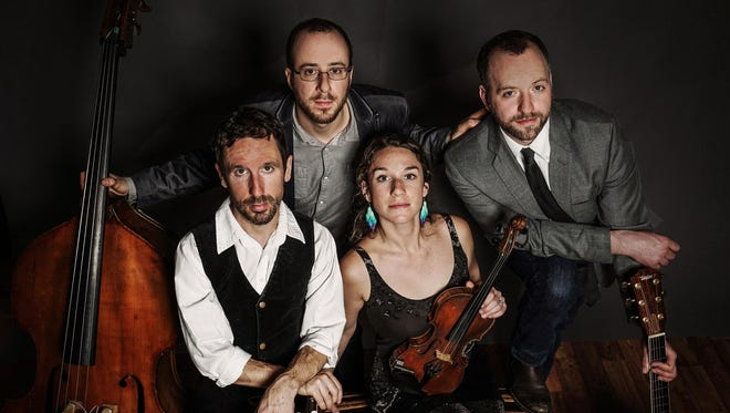 "Driftwood — from left, Joe Kollar, Joey Arcuri, Claire Byrne and Dan Forsyth — will celebrate the release of ""City Lights"" in Ithaca and Apalachin."