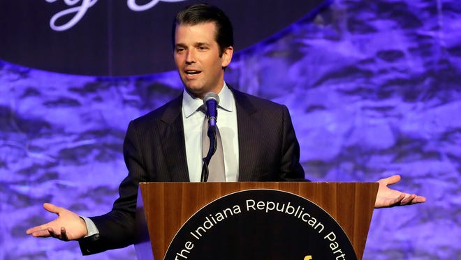 Donald Trump Jr. speaks during the Indiana Republican Party 2017 Spring Dinner Monday, May 8, 2017, in Indianapolis. (AP Photo/Darron Cummings)
