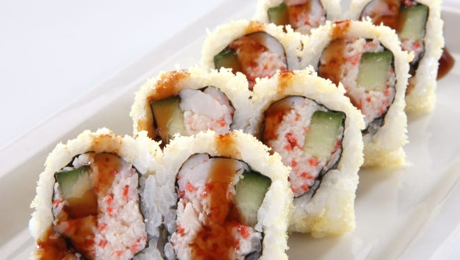Seafood, rice and eel sauce drizzle makes the Tootsy Maki at RA Sushi.